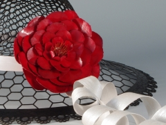 Detail, Black Lace hat with Crimson Flower (2012)
