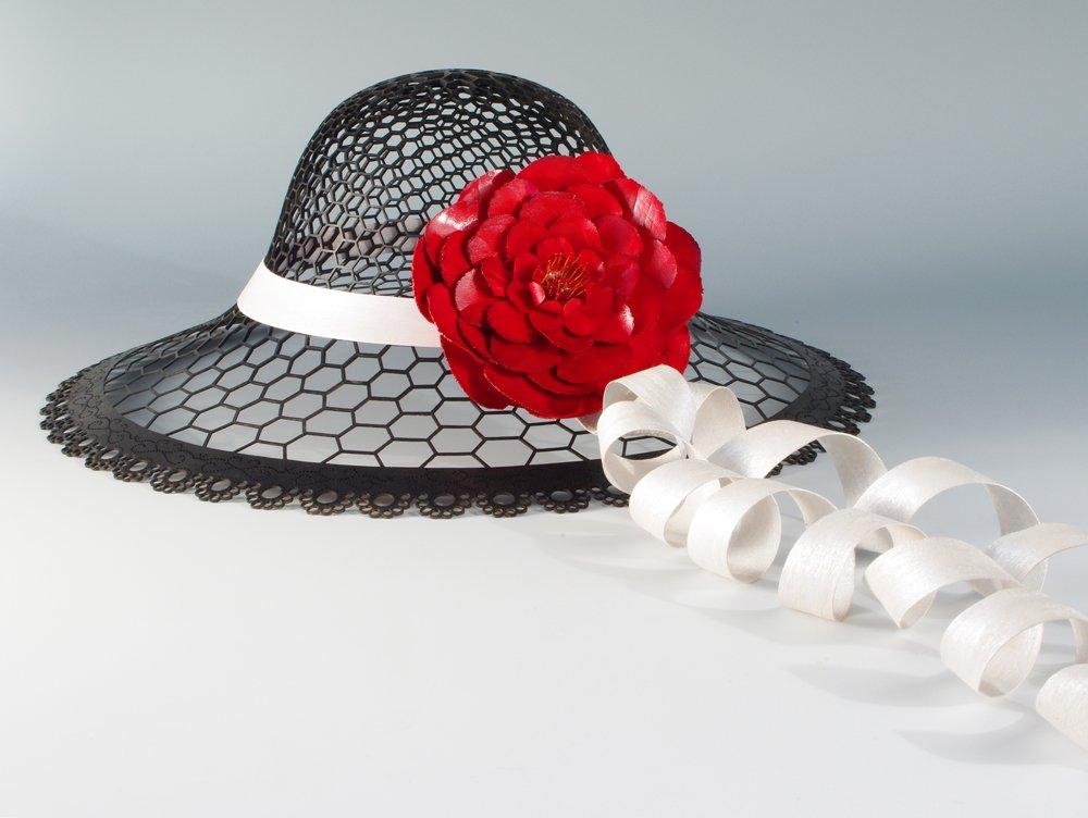Black Lace Hat with Crimson Flower